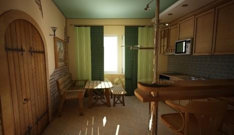 Кухня с зелеными шторами