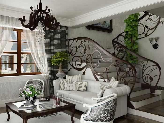 Лестница с витыми перилами