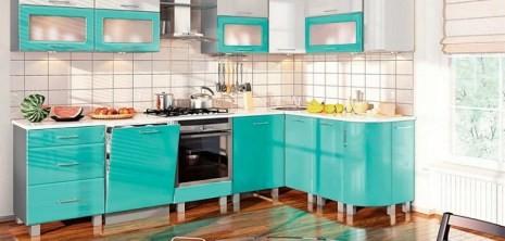 Бирюзовый цвет в кухне заставка