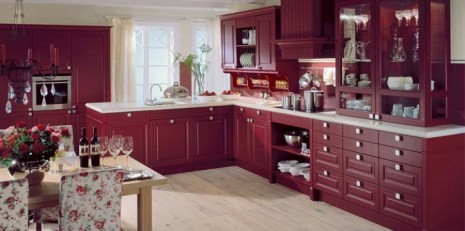 Бордовая кухня заставка