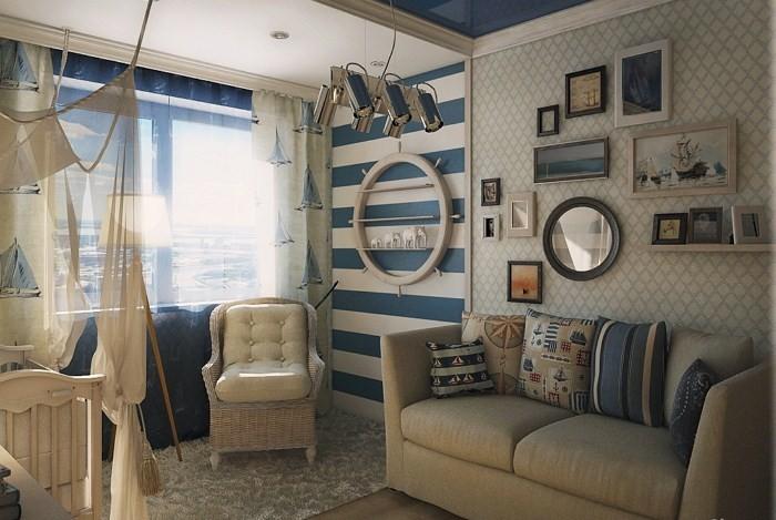 Полосатая стена и плетеное кресло