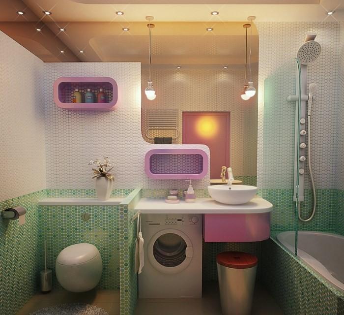 Зелено-розовая ванная