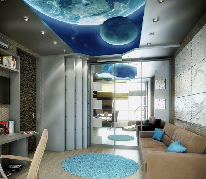 Планеты на потолке и коричневый диван