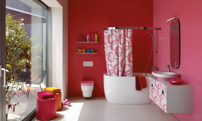 Покраска стен ванной комнаты