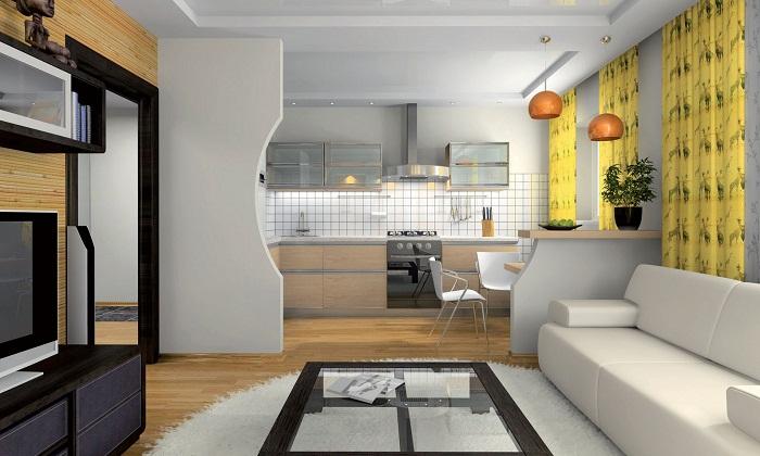 Дизайн кухня-гостиная 15 кв м