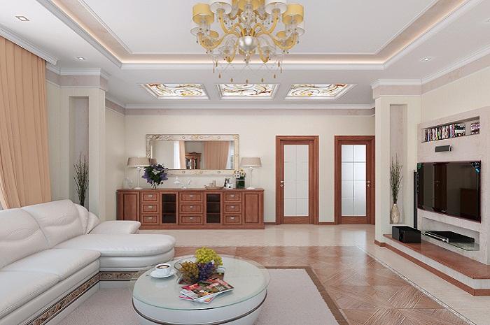 Дизайн гостиных с низким потолком